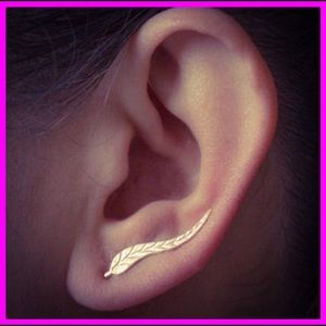 925 Sterling Silver Long Leaf Earrings